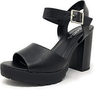 SODA Crush Platform Lug Sole Wooden Block Stacked Heel Ankle Buckle Strap Sandal
