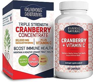 Oladole Natural Cranberry (30,000 mg) + Vitamin C 120 Capsules | Triple Strength Ultimate Potency | Non-GMO, Gluten Free C...