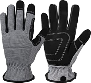 Work Gloves for Men Women: Synthetic Leather Utility Glove Durable for Yard Warehouse Light-Duty Working - 2 Pairs Large Gray