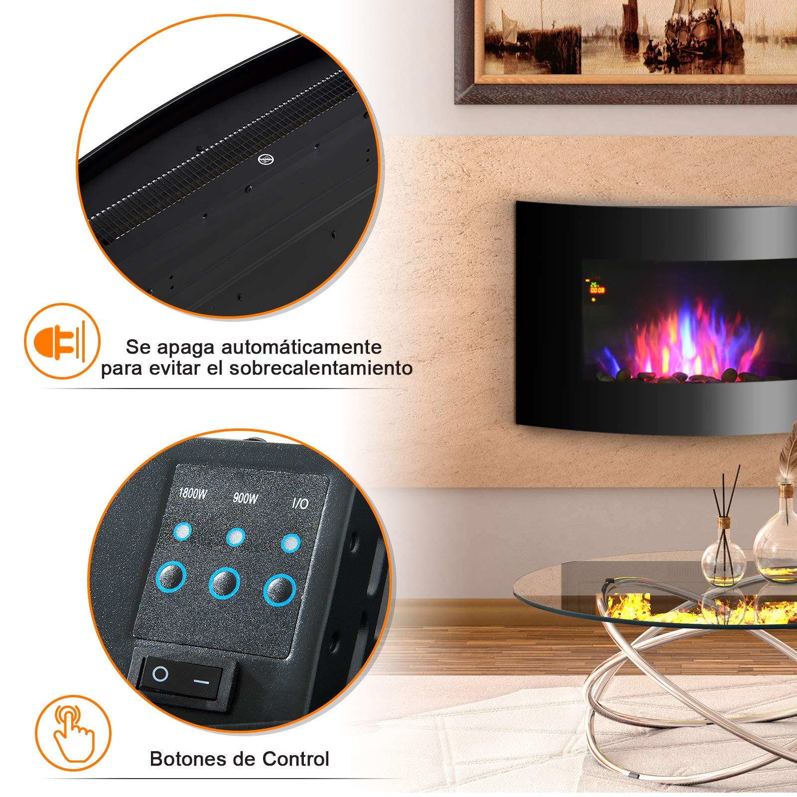 HOMCOM Chimenea Eléctrica de Pared Estufa Eléctrica Calentador de Fuego 900/1800W con Mando a Distancia Termostato Llama LED 7 Colores: Amazon.es: Hogar