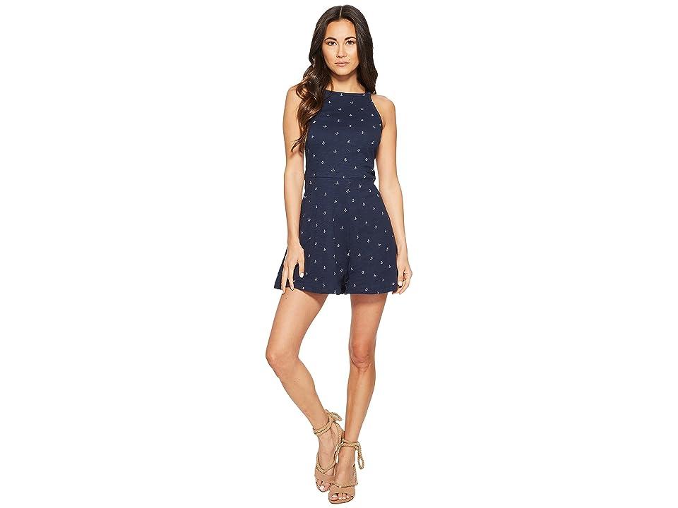 Roxy Shinny Shell Romper (Dress Blue Printed Anchor) Women