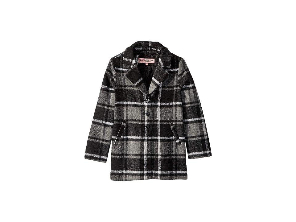 Urban Republic Kids Charlotte Long Length Wool Coat (Little Kids/Big Kids) (Black Plaid) Girl