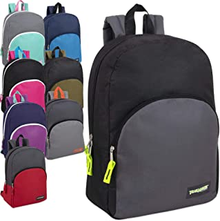 15 Inch Backpacks For Kids with Padded Straps Wholesale Bulk Case Pack Of 24 (Mix 8 Color Assortment)