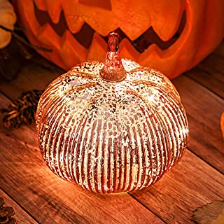 Hvfun Rosegold Thanksgiving Decorative Artificial Pumpkins-Mercury Glass Light up Pumpkin with Timer- Table Centerpieces for Home Decor