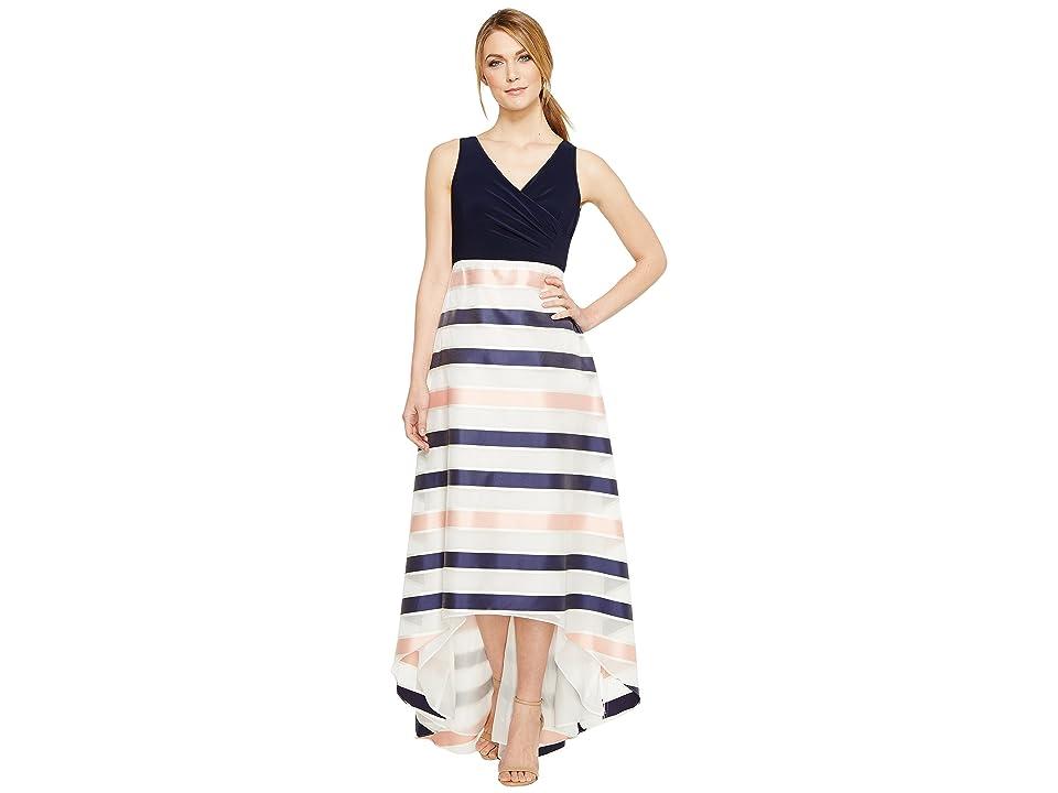 Adrianna Papell Jersey Organza Stripe Dress (Navy/Ivory/Pink) Women
