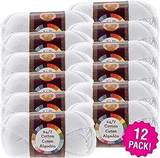 Lion Brand 98696 24/7 Cotton Yarn-12/Pk-White, 12/Pk White Pack