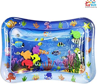 ToyVelt Tummy Time Water Play Mat for Infants & Toddlers - Leakproof Inflatable Baby Playmat - Stimulating Infant Inflater Mats with Colorful Toys for Babies - Big & Fun Sensory Activity Pad for Kids