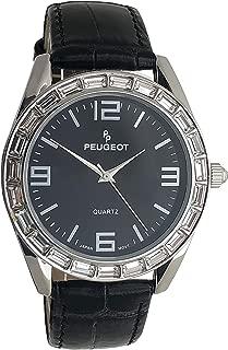 Women Crystal Accented Round Watch - Boyfriend Style with Genuine Leather Strap Watch