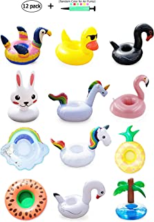Konack Inflatable Drink Holder - 12 Pack Drink Floats for Pool - Floating Drink Holders for Swimming Pool Parties and Kids Water Fun Includes Unicorn - Parrot -Swans and Rabbit