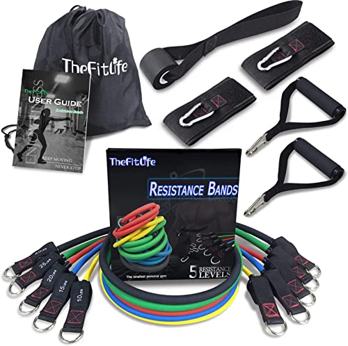 TheFitLife Exercise and Resistance Bands Set - Stackable up to 150 lbs Workout Tubes for Indoor and Outdoor Sports, F...