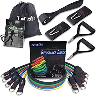 TheFitLife Exercise and Resistance Bands Set - Stackable up to 110 lbs Workout Tubes for Indoor and Outdoor Sports, Fitness, Suspension, Speed Strength, Baseball Softball Training, Home Gym, Yoga …