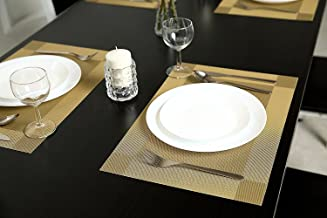 Placemats Table Mats, Dream Wings Set of 6 Woven Vinyl Table Mats Heat-resistant Non-slip Insulation Washable PVC Placemats for Kitchen Dining Table Decoration (Set of 6, Gold)