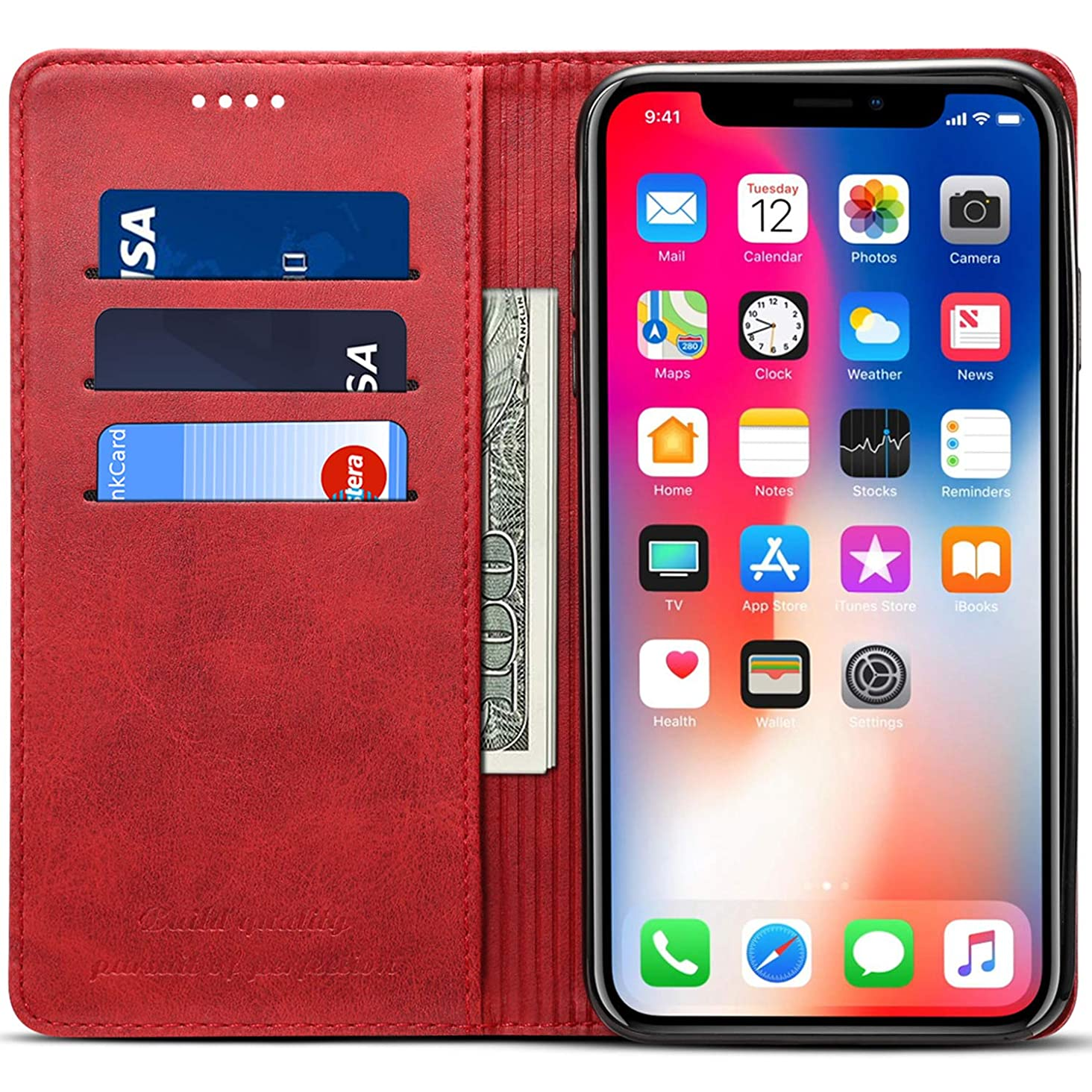 iPhone XS Max Wallet Phone Case Slim Leather Flip Folio Book Stand Protective Card Slot Holder Case Magnetic Closure