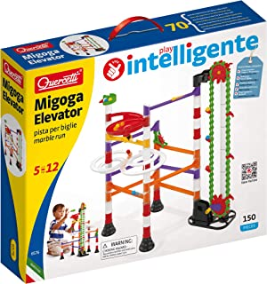 Quercetti Migoga Marble Run with Elevator - 150 Piece Building Set with Spirals, Funnel and Hand Crank for Ages 5 and Up (...
