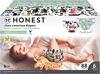 The Honest Company - Super Club Box, Clean Conscious Diapers, This Way That Way + Big Trucks, Size 6, 88 Count (Packaging ...