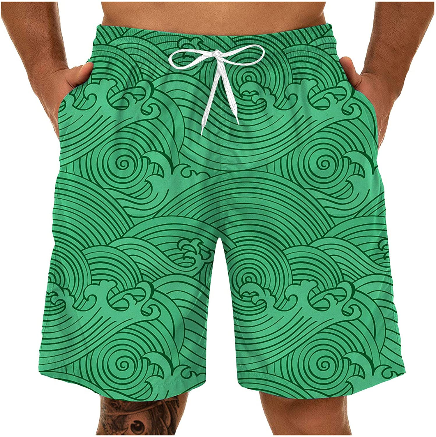 FUNEY Mens Swim Trunks Quick Dry Board Shorts 3D Print Breathable Swim Shorts Funny Swimwear Bathing Suits with Pockets