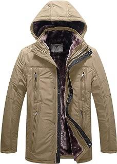 WenVen Men's Winter Thicken Fleece Parka Insulated Windproof Coat Jacket with Hood
