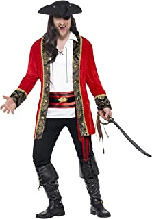 Smiffy's Men's Pirate Captain Costume, Jacket, Shirt and Waist sash, Pirate, Serious Fun, Size L, 24464