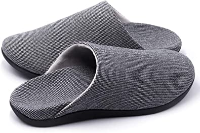 V.Step Slippers with Arch Support, Comfortable Orthopedic Sandals for Plantar Fasciitis Flat Foot House Outdoor, Grey, Women US 9-9.5