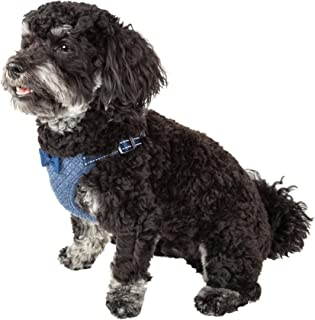 Pet Life ® 'Flam-Bowyant' Mesh Reversible And Breathable Adjustable Dog Harness W/Designer Bowtie, Small, Navy
