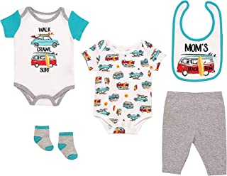 Mini B. by Baby Starters 5-Piece Layette Set with 2 Bodysuits, Pull on Cotton Pant, 2-ply Cloth Bib and Socks (Green/Beach and Surf, 6-9M)