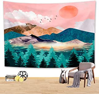 arsvita Mountain Sunset Tapestry, Nature Forest Tree Landscape Tapestry Wall Hanging for Room (59.1 51.2 inch) - Tpcbt001