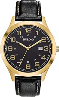 ساعة بولوفا للرجال 97B181 كواترز جلد اسود سوار 42 ملم