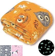 Glow in The Dark Blanket, Christmas Girls Boys Gifts, Orange Throw Blanket for Kids, Premium Super Soft Fuzzy Throw Blanket (50
