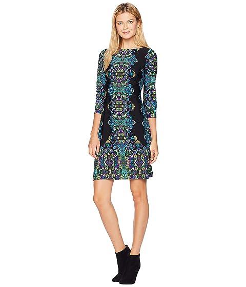 Jewel Box Matte Jersey Shift Dress, Black/Turquoise