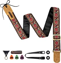 M33 Guitar Strap Vintage Woven Collection Strap Set For Acoustic and Electric Guitars INCLUNDS FREE STRAP BUTTON + LOCKS+3PICKS INCLUDED BEST STRAP BUNDLE