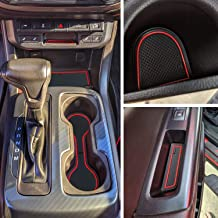 JDMCAR Console, Cup, Door Liner Accessories Kit Compatible with Chevy Colorado and GMC Canyon 2020 2019 2018 2017 2016 2015 (Crew Cab,Red Trim)-26 PC Set