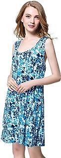 ثوب نوم قطني للنساء بلا أكمام ملابس نوم الصيف تانك تي شيرت قميص نوم مطبوع فستان