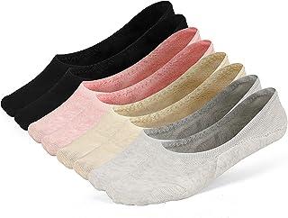 LAISOR Cotton No Show Sock Women's invisible Non Slip Flat Boat Liner Socks (Pack of 3-12)