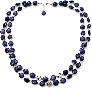NOVICA Lapis Lazuli .925 Sterling Silver Beaded Strand Necklace `Midnight Breeze`