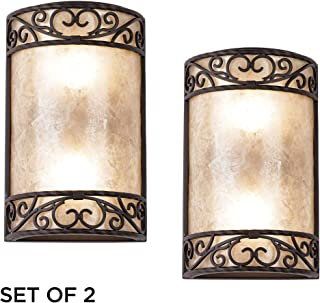 Natural Mica Collection Antique Wall Light Sconces Set of 2 Rustic Walnut Brown Hardwired 12 1/2