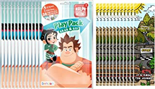 Bundle of 12 Wreck-It Ralph 2: Ralph Breaks the Internet Grab and Go Play Packs and 12 KaleidoQuest Racing-Themed Colorable Bookmarks