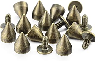 100 Sets 9MM Bronze Spikes and Studs Metal Bullet Cone Spikes Screw Back Leather Craft Rapid Rivet Screws Punk Studs and S...