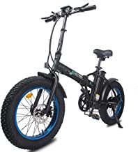 ECOTRIC Electric Foldable Bike Black Frame Blue Rim Beach Snow Bicycle 20