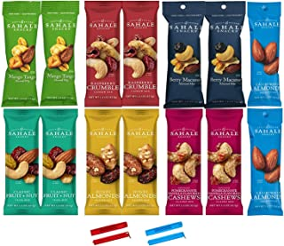 Sahale Snacks All Natural Nut Blends Grab And Go Variety 7-Flavor (1.5 oz x 14 CT Packs) with 2 Snack Clips