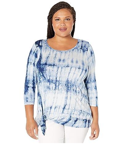 Karen Kane Plus Plus Size 3/4 Sleeve Tie Front Top (Tie-Dye) Women
