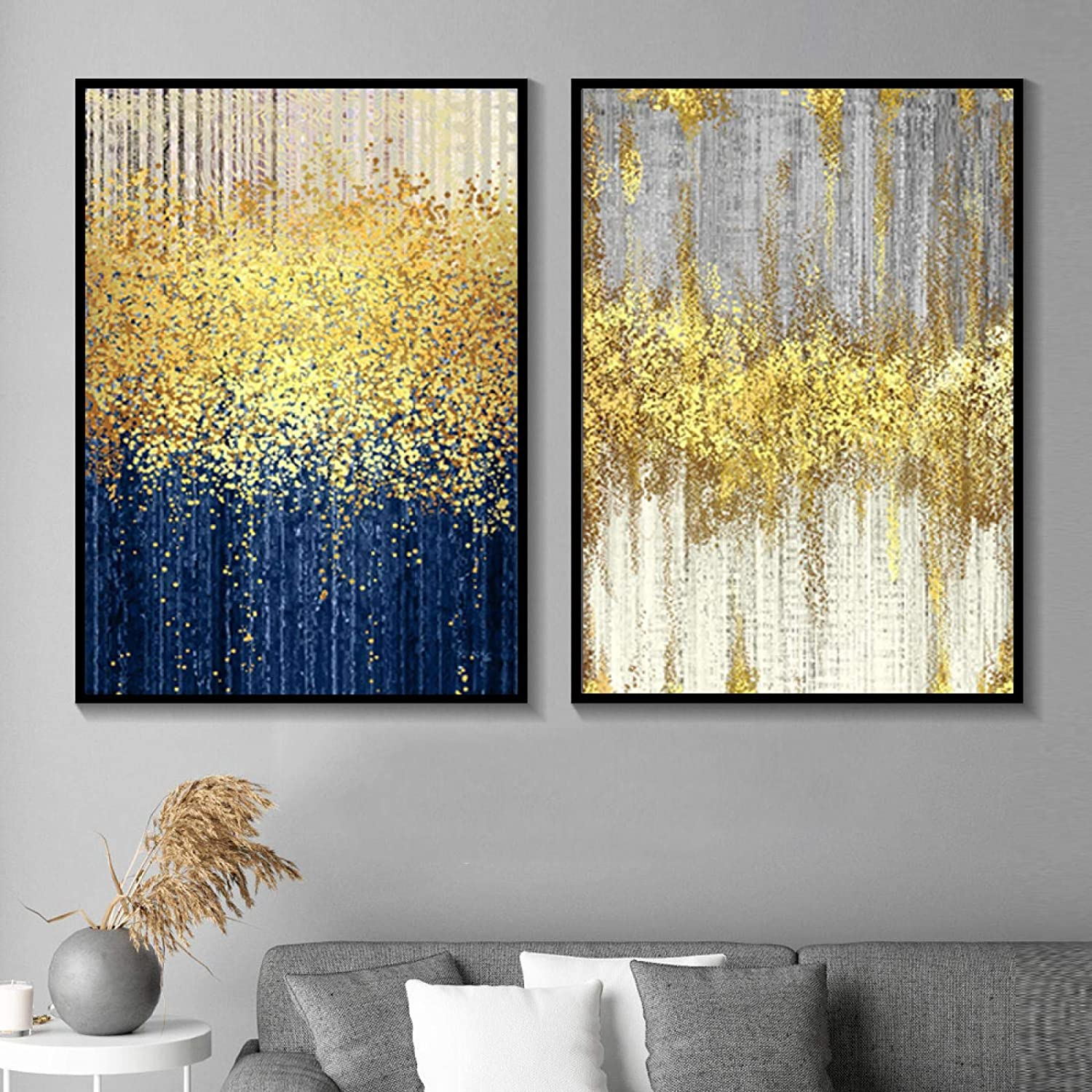 Modern Minimalist trust Abstract Yellow Gold Tree Pa Animer and price revision Blue Green Canvas