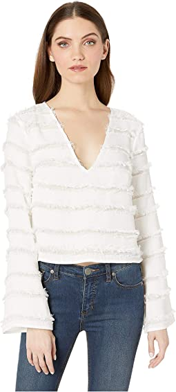 Deep V-Neck 3/4 Sleeve Woven Top