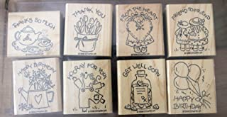 Stampin' Up! 1996 Nice & Easy Notes Stamp Rubber Stamp Set of 8