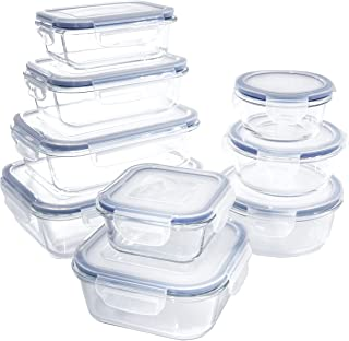 1790 Glass Food Storage Containers with Lids - 9 Pack - Glass Meal Prep Containers, Airtight Glass Lunch Boxes, Approved &...