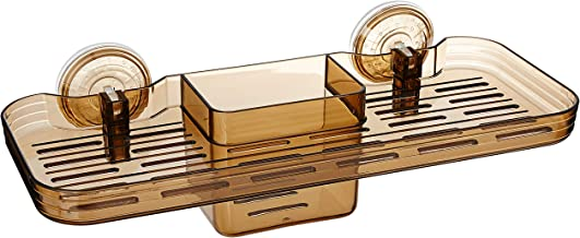 Amazon Brand - Solimo Suction Bathroom Tray/Shelf with compartments