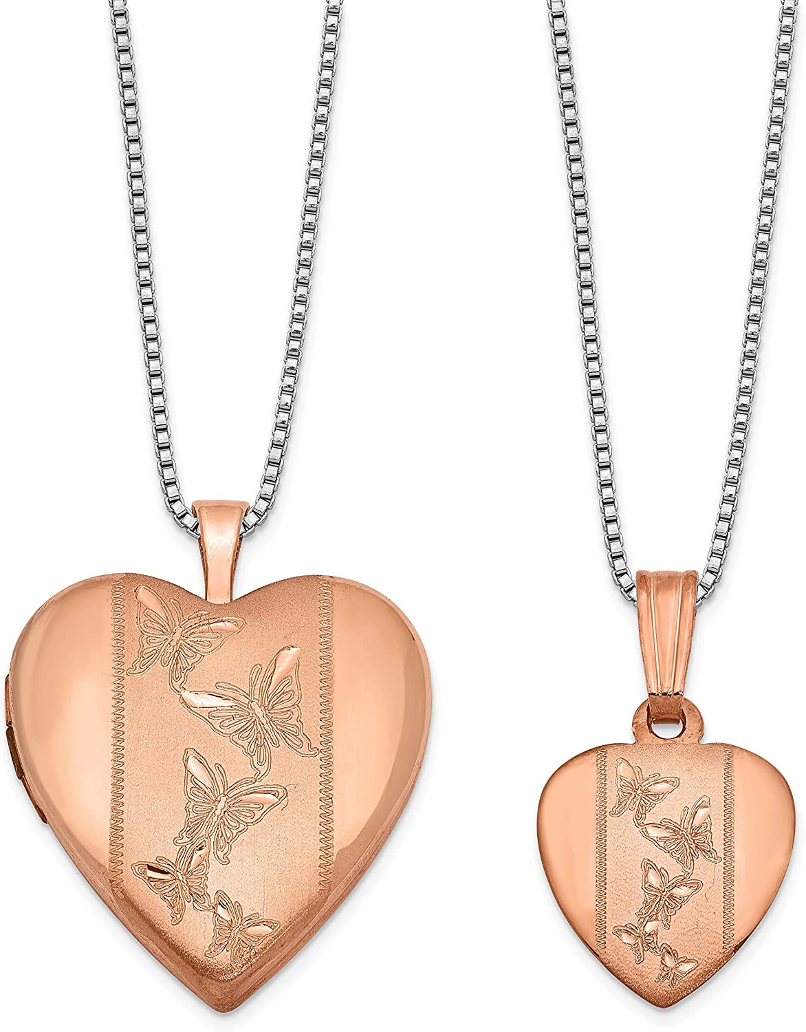 Sterling Max 63% OFF Special price for a limited time Silver Rose Polished and Satin Locket Butterfly Heart