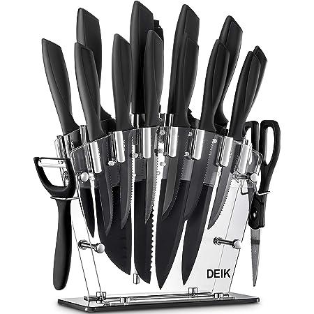 Deik Ensembles de Couteaux de Cuisine 16 Pièces, Acier à Lames Oxydé BO, Set de Couteaux Cuisine Professionnels en Acier Inoxydable avec Ciseaux Aiguiseur et Blocs en Acrylique