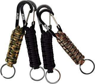 EOTW Paracord Keychain with Carabiner Military Braided Lanyard Utility Survival Lanyard King Ring Hook for Keys Knife Flashlight for Outdoor Camping Hiking Backpack 4Pack