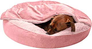 Furhaven Pet Dog Bed - Round Plush Faux Fur Waves and Velvet Ultra Calming Anti-Anxiety Hooded Tufted Pillow Cushion Donut...