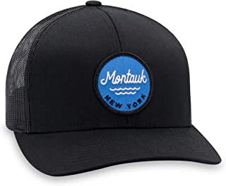 Montauk Hat – Long Island Trucker Hat Baseball Cap Snapback Golf Hat (Black)